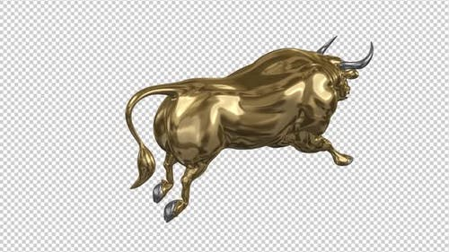 Running Bull - Gold and Silver - Back Angle - Transparent Loop