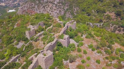 Top view of ancient ruins of castle on a hill