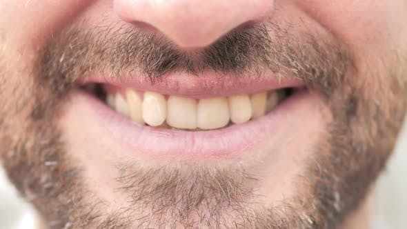 Thumbnail for Close up of Smiling Man Lips and Teeth