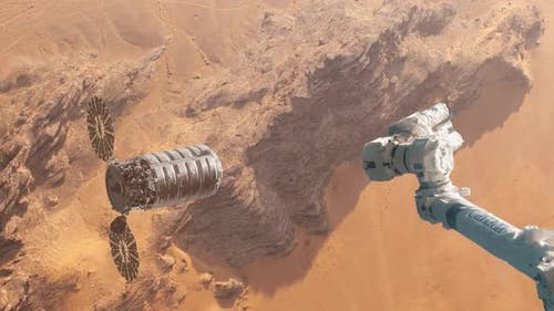 Supply Ship Preparing to Dock with Space Station Over the Surface of Mars
