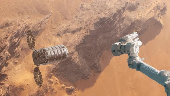 Thumbnail for Supply Ship Preparing to Dock with Space Station Over the Surface of Mars