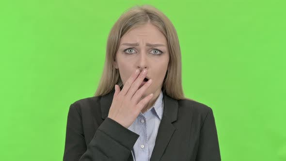 Cover Image for Disappointed Businesswoman Getting Upset Against Chroma Key