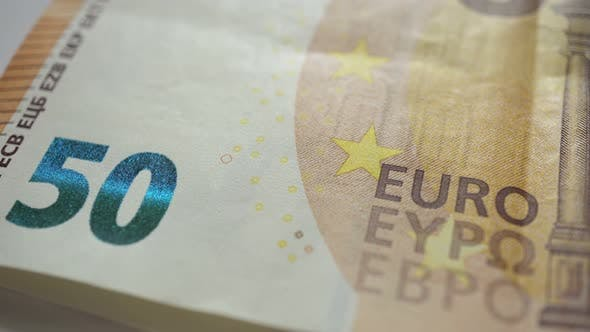 50 Euro Cash Banknotes Put On Top