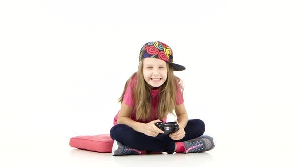 Thumbnail for Girl with Games Console Playing Video Game and Loses, Studio