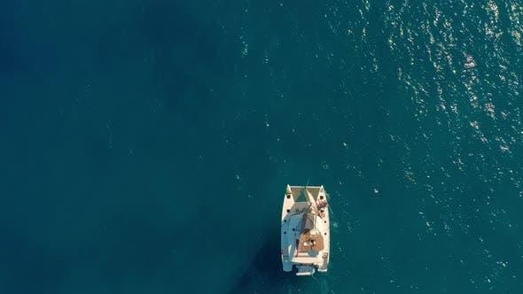 Thumbnail for Catamaran Sailing on the Sea. Aerial Shoot of the Catamaran Sailing in the Wind.