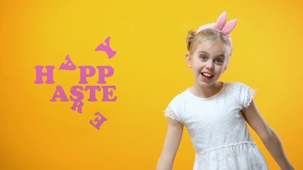 Thumbnail for Happy Easter Sign, Excited Little Girl Playing and Dancing With Colored Eggs