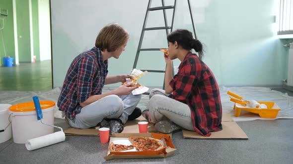 Thumbnail for Renovation Diy Couple Choosing Color During Snack