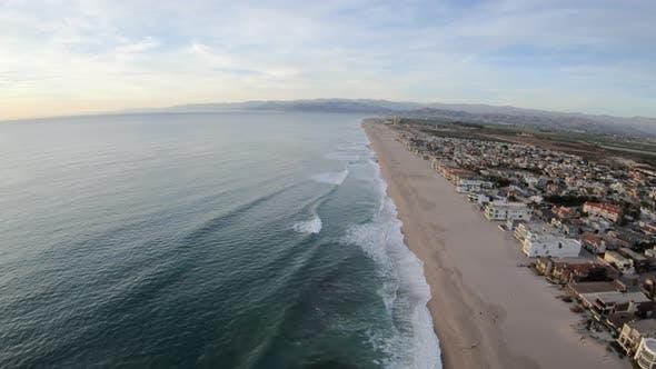 Thumbnail for Oxnard Shores California Usa Beach Coastline Aerial Flyover Going North Along Waters Edge
