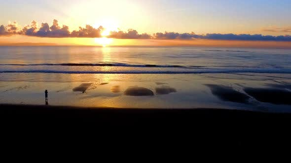 Thumbnail for Virgin Unspoiled Caribbean Beach Aerial Drone View at Sunrise