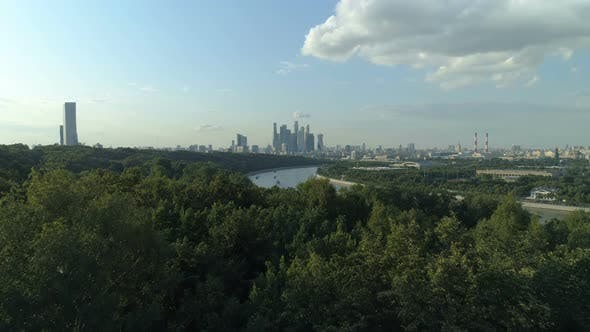 Aerial Shot of Sparrow Hills and Skyscrapers of Moscow International Business Centre in the Distance