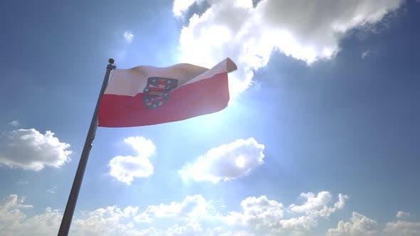 Thumbnail for Thuringia Flag with Emblem on a Flagpole V4