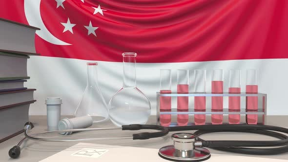 Thumbnail for Laboratory Equipment on Singaporean Flag Background