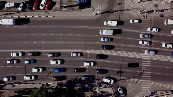 Thumbnail for Drone's Eye View - Aerial Top Down View of Urban Traffic Jam
