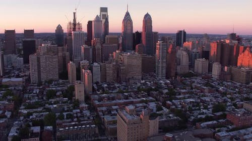 Aerial view of Philadelphia, Pennsylvania at sunset