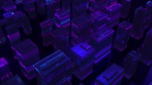 Digital Neon Glowing City