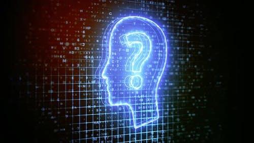 Krypto-Kopf mit Fragezeichen