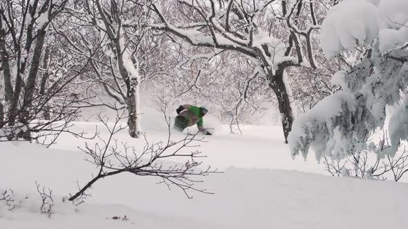 Thumbnail for Snowboarding Powder Snow In Niseko Hokkaido Japan Forest Trees