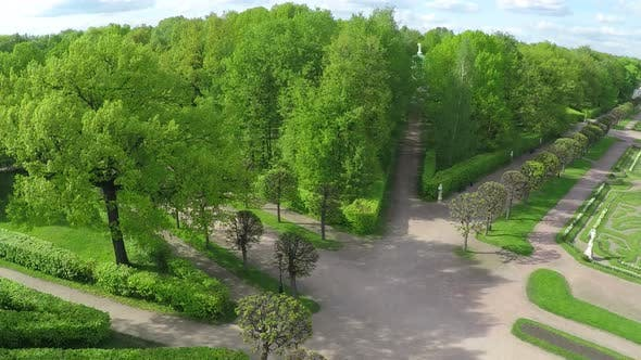 Flying over green alleys in Tsaritsyno Park, Moscow