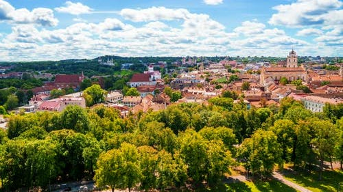 Beautiful summer panorama time lapse of Vilnius old town