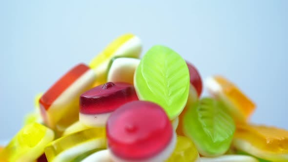 Thumbnail for Footage of Bright Tasty Colourful Marmalade Jelly Candies Rotate