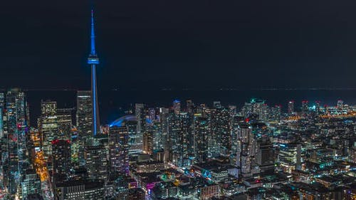 Downtown Toronto Night Time Lapse Of Traffic An Cn Tower 04