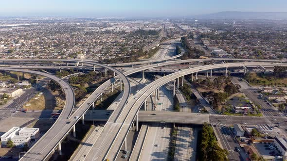 Thumbnail for Huge Freeway Overpass and Cityscape of Los Angeles, California, Aerial View