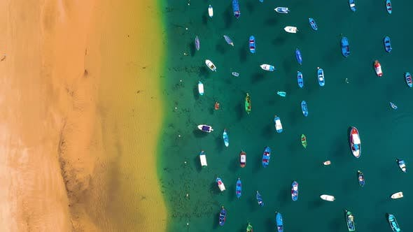 Aerial View of the Golden Sand of the Beach Las Teresitas and Colorful Boats Moored Alongside a