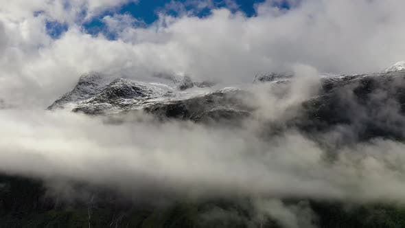 Thumbnail for Mountain Cloud Top View Landscape. Beautiful Nature Norway Natural Landscape
