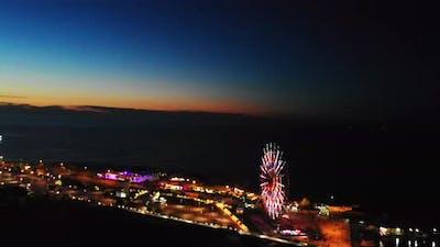 Ferris Wheel Ladnmark In Batumi At Night