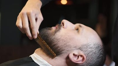 Male Barber Combing Beard at a Barber Shop