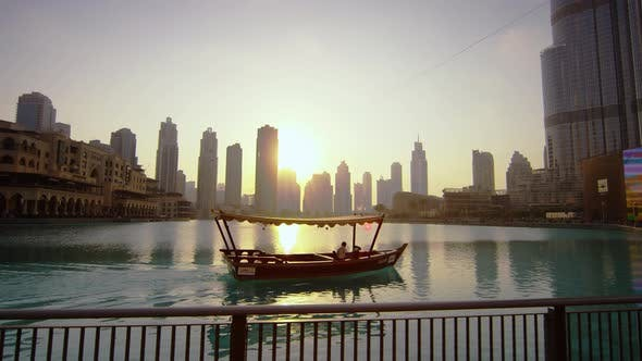 Thumbnail for A motorboat sailing in Burj Khalifa Bay, Dubai