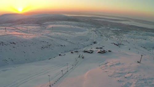 Sunrise over Ski Resort in Mountains