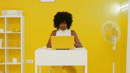 Black Woman Is Working Retro Office