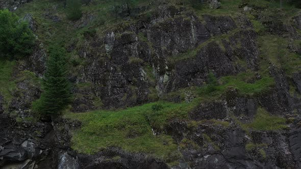 Thumbnail for Aerial View On Rocky Slope In The Mountain