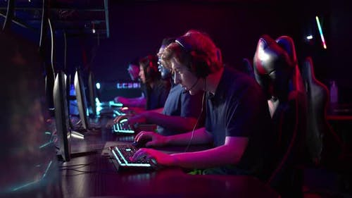 Professional Esports Players at an Online Game Tournament