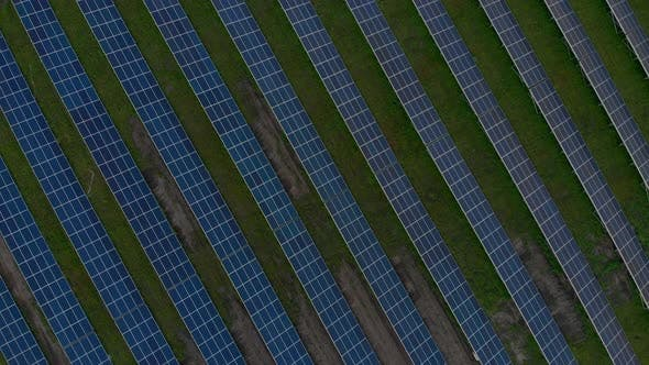 Thumbnail for Drone Fly Over Solar Farm. Renewable Green Energy and Electrical Technology. Field of Solar Panels