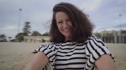 Beautiful Adult Woman Laughing and Spinning, Camera Point of View