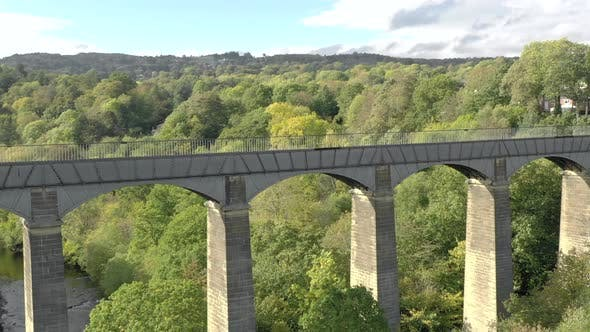Pontcysyllte Aqueduct and River in Wales Aerial View