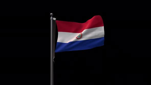 Paraguay Flag On Flagpole With Alpha Channel 4K