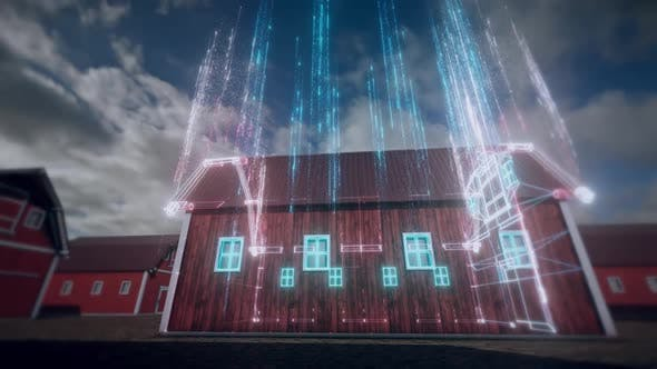 The Barn In Farm Hud Hologram Scanning  Hd