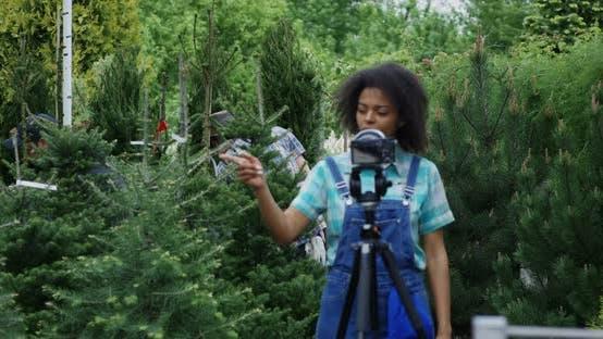 Thumbnail for Female Gardener Talking on Camera