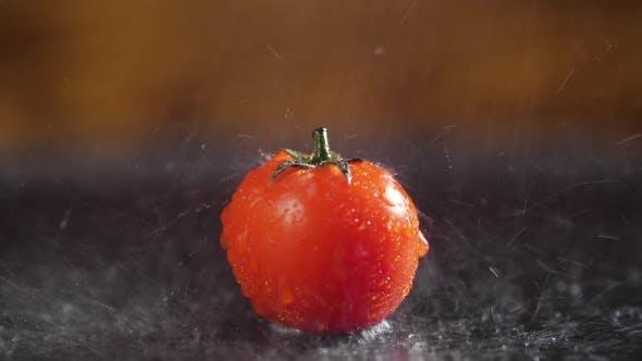 Tomatoes With Drops of Water Macro Video, Beautiful Macro Video, Raw Organic Food Vegetables