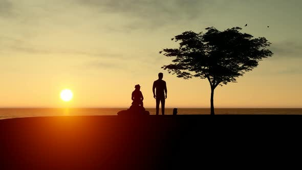 Thumbnail for Couple Sitting on Sunset View