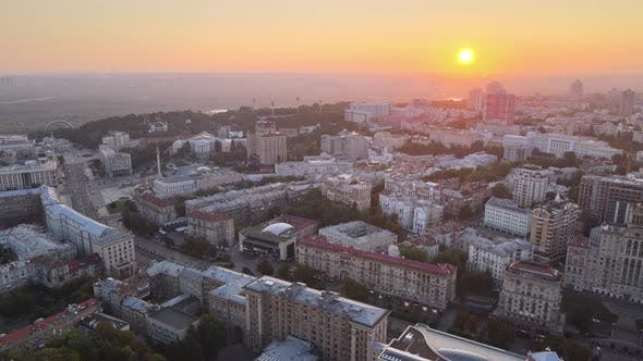 Ukraine, Kyiv : City Center in the Morning at Sunrise. Aerial View. Kiev.