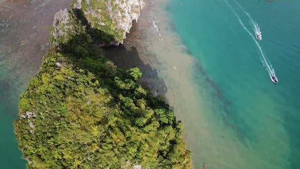 Thumbnail for Aerial of Pranang Beach Between Rocks in Thailand