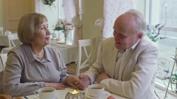 Thumbnail for Loving Senior Couple Chatting in Restaurant