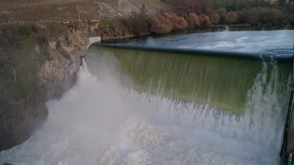 Thumbnail for Epic Waterfall Aerial Dam Water Flowing Flyback