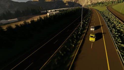 Police Car Chasing Thief Car in Convoy