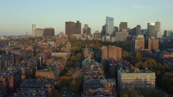 Flying up Boston's Back Bay toward Commons