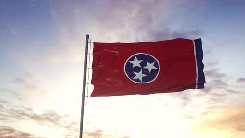 State Flag of Tennessee Waving in the Wind